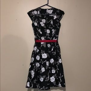 White and grey/gray floral black dress